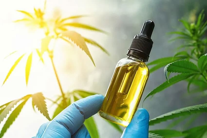 a container of CBD oil for relaxing muscles